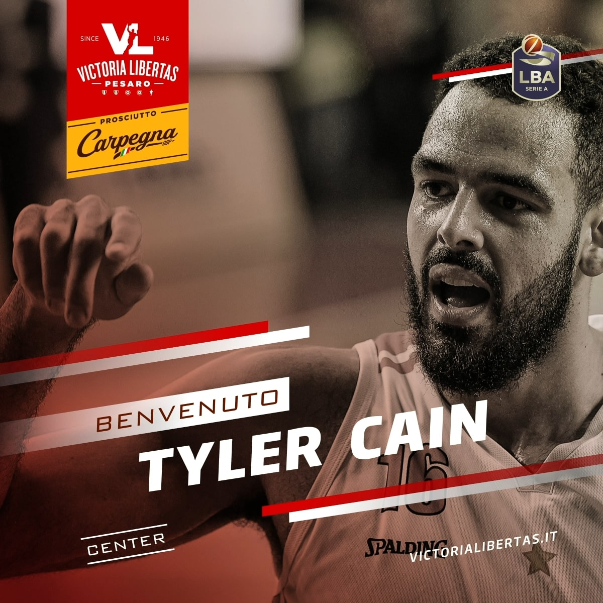 Tyler Cain è il nuovo centro Basket Pesaro