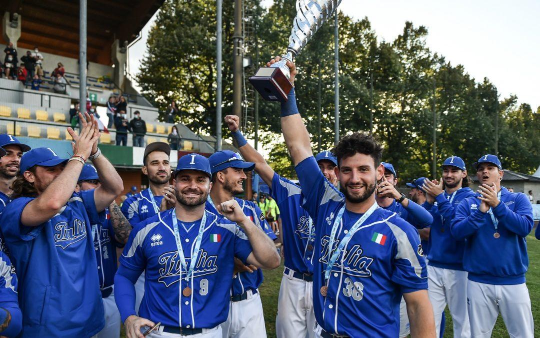 Campionato Europeo Baseball Piemonte 2021: l'Italiasale sul terzo gradino del podio